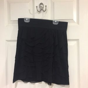 Black mini skirt with scalloped layers